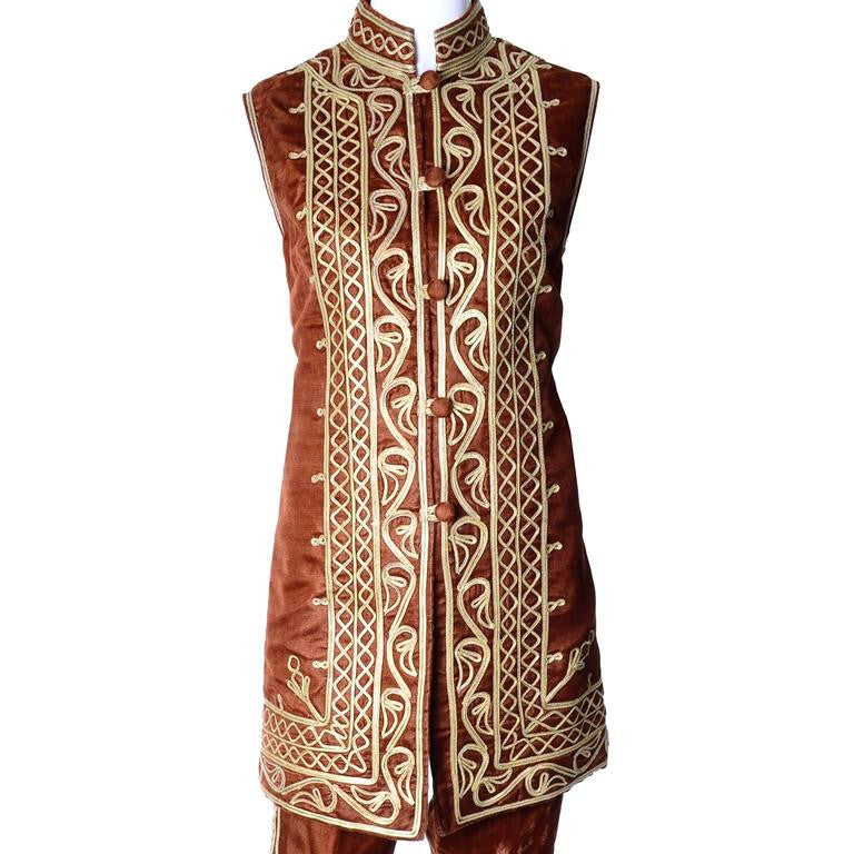 Beautiful gold embroidery design on a 1960's vintage Pashun waistcoat