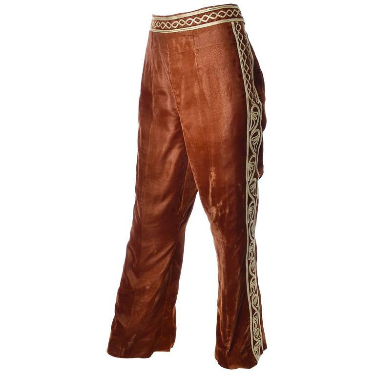 Made in Afghanistan vintage brown velvet pants with gold embroidery