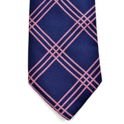 Burberry London vintage blue with pink plaid silk tie