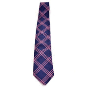 Burberry London vintage blue silk men's tie with pink plaid stripes