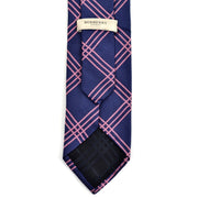 Men's Burberry London vintage blue silk tie with pink plaid stripes