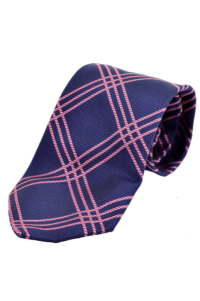 Burberry London vintage blue silk tie with pink plaid stripes