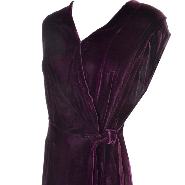 30s 1930s Vintage Burgundy Silk Velvet Evening Dress Size Extra Large