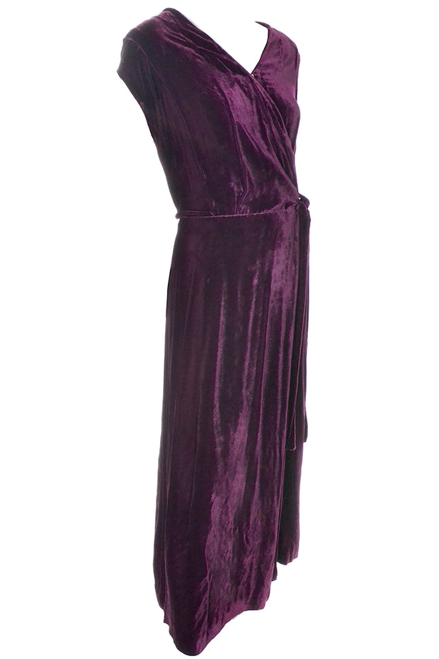 1930s Vintage Burgundy Silk Velvet Evening Dress Size Extra Large