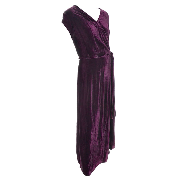 1930s Vintage Burgundy Silk Velvet Evening Dress Size Extra Large sleeveless