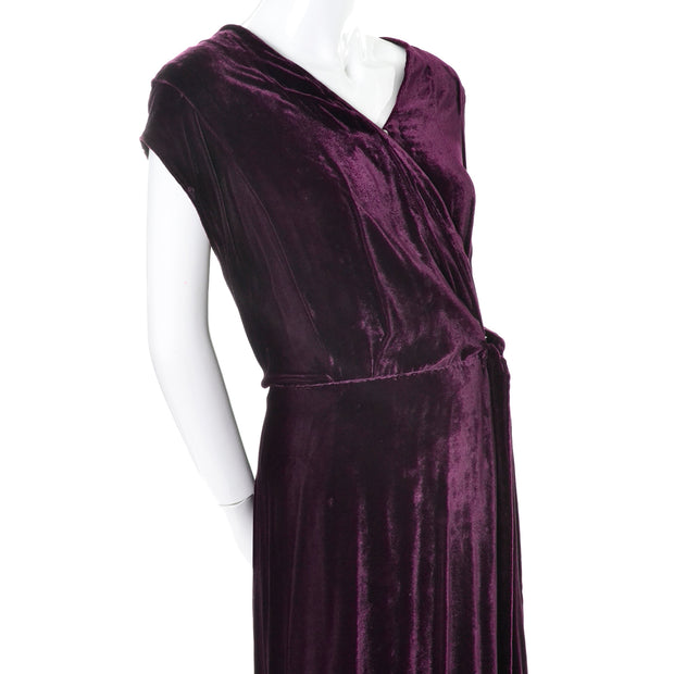 1930s Vintage Burgundy Silk Velvet Evening Dress Size Extra Large 30s dresses