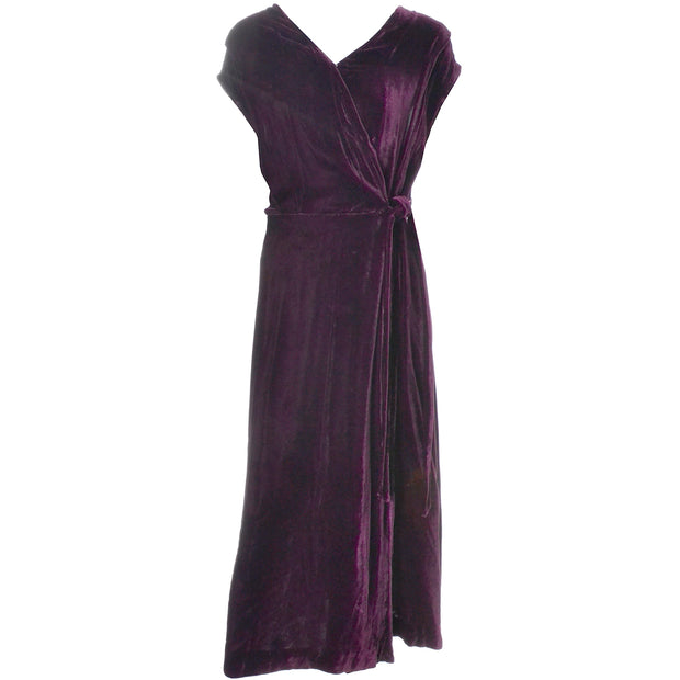 1930s Vintage Burgundy Silk Velvet Evening Dress Size Extra Large V Neck