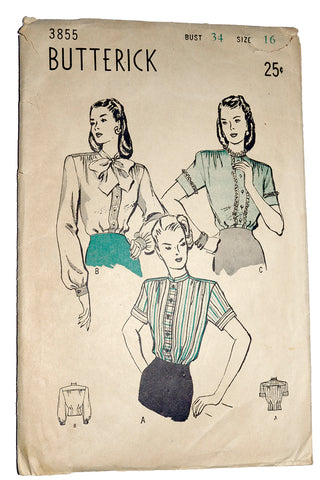 1946 blouse pattern Butterick 3855