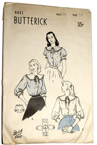 1940s Butterick 4441 Blouse Pattern