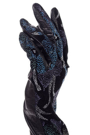 Carlos Falchi Vintage Abstract Floral Leather Opera Gloves 80s