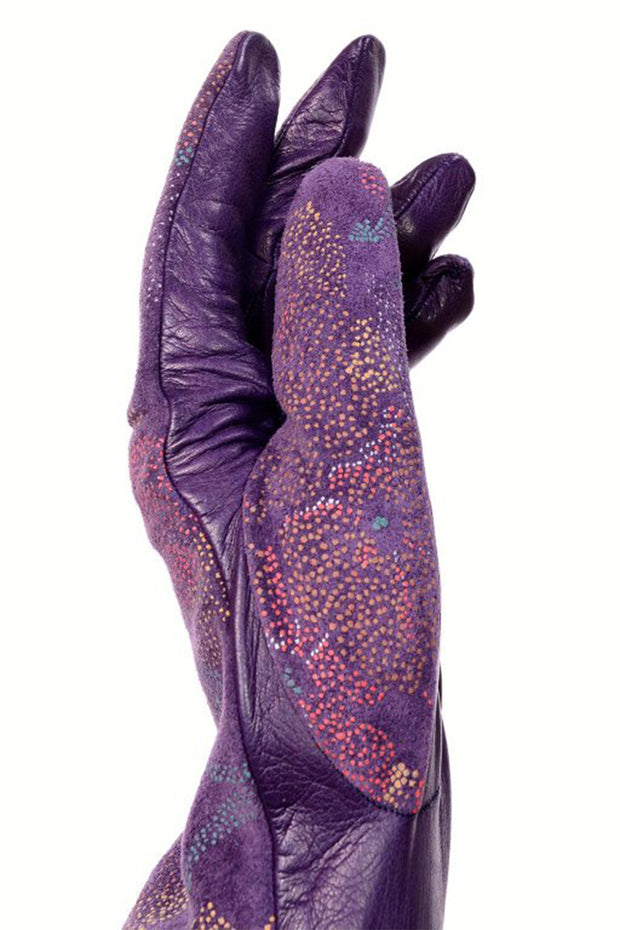 Carlos Falchi Pointilism Dot Painted Purple Leather Gloves