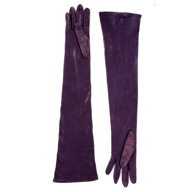 Carlos Falchi Purple Leather Opera Length Vintage Gloves