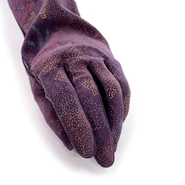 Carlos Falchi Opera Length Purple Leather Gloves Size 7