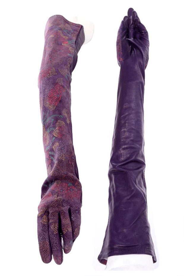 Carlos Falchi Hand Painted Opera Length Purple Leather Gloves