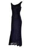 1990s Carmen Marc Valvo Beaded Vintage Black Gown