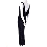 1990s Carmen Marc Valvo Black Beaded Evening Dress with Drop Neckline Size 4 - Dressing Vintage