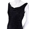 1990s Carmen Marc Valvo Beaded Vintage Black Evening Gown