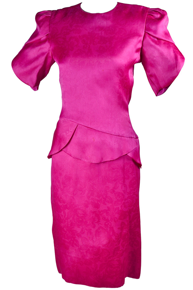 491f99e7095 Pink Silk Vintage Carolina Herrera Dress With Floral Jacquard ...
