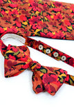 Vintage silk orange and red floral bow tie and matching cummerbund from Dressing Vintage Men's Section