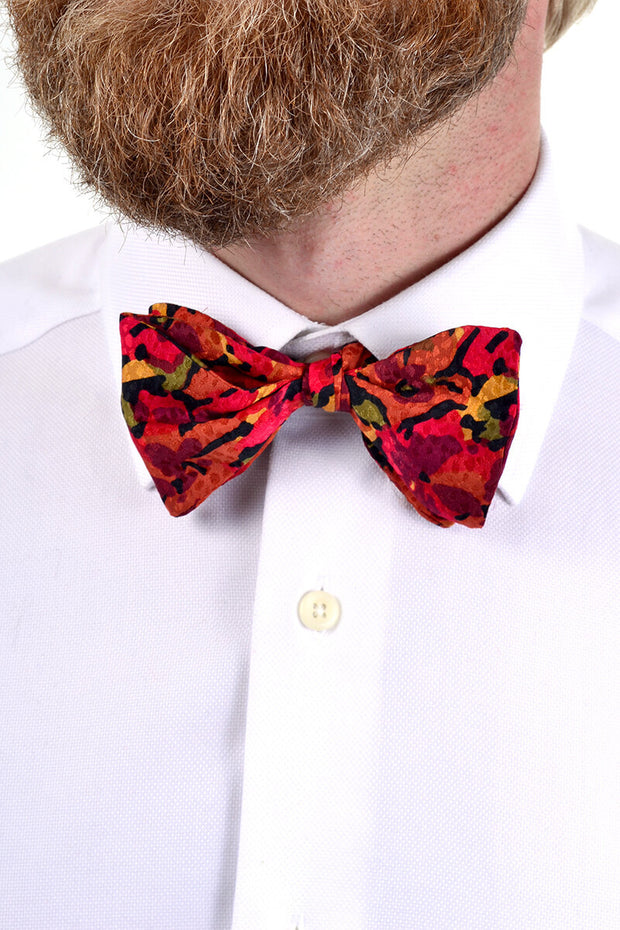 1980s vintage bow tie and matching cummerbund, floral autumn colors