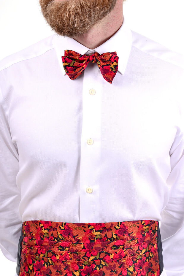 Men's vintage bow tie and cummerbund matching set