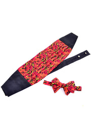 Vintage 1980s silk cummerbund and silk bow tie set