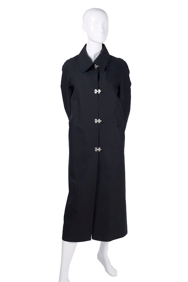 Celine Black Raincoat With Metal Toggle Buckles & Pockets Size 40
