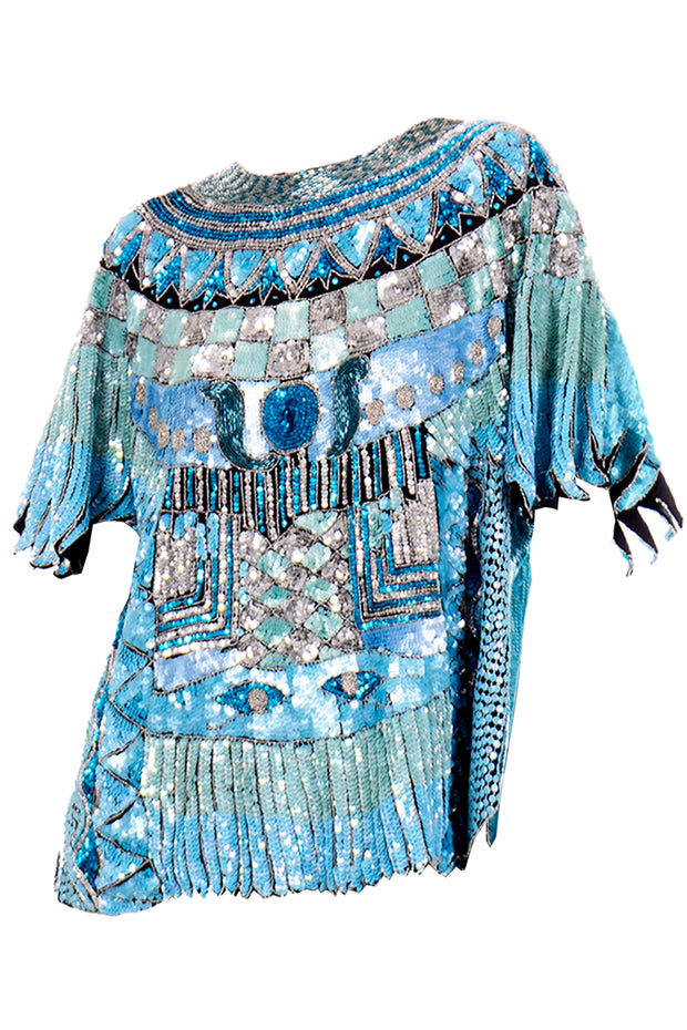 Vintage Blue Beaded Sequin Evening Top
