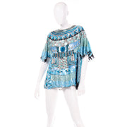Vintage Blue Beaded Sequin Evening Top Silver
