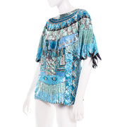 Vintage Blue Beaded Sequin Evening Top 1980s