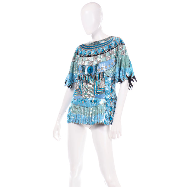 80s Vintage Blue Beaded Sequin Evening Top
