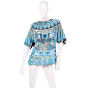 1980s Vintage Blue Beaded Sequin Evening Top