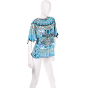 Vintage Blue Beaded Sequin Evening Top Turquoise