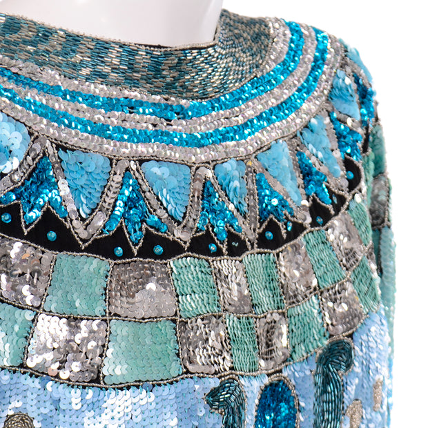 1980s Silver Vintage Blue Beaded Sequin Evening Top