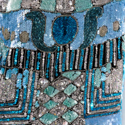 Vintage Blue Beaded Sequin Evening Top Detailed Design