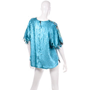 Vintage Blue Beaded Sequin Evening Top Chamanix