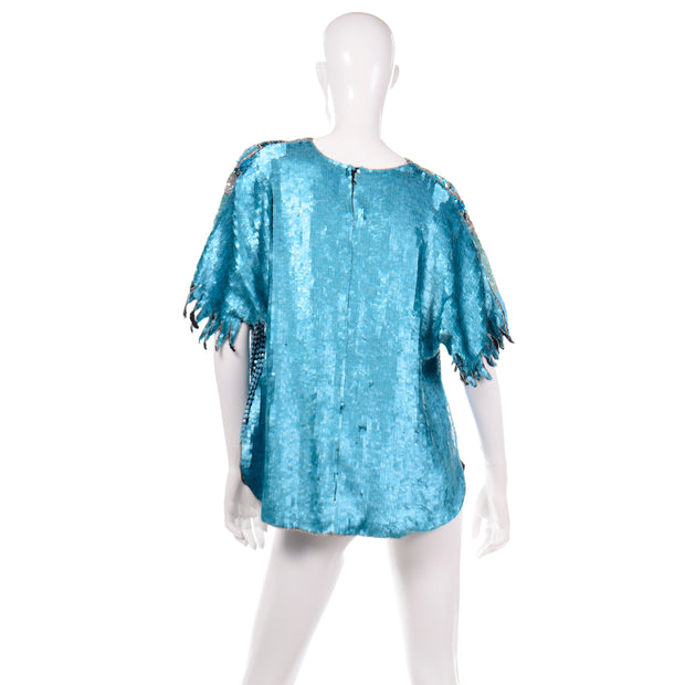 80s loose Vintage Blue Beaded Sequin Evening Top