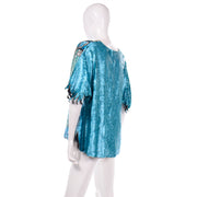Vintage Blue Beaded Sequin Evening Top 1980s Zig Zag hem