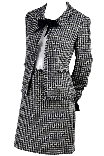 Chanel 2004 Black & White Lesage Tweed Jacket & Skirt w/ Bow - Dressing Vintage