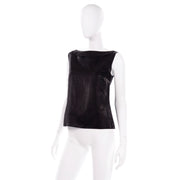 Chanel Metallic Linen Boat Neck Sleeveless Black Top Size M