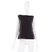 Chanel Metallic Linen Boat Neck Sleeveless Black Top Karl Lagerfeld