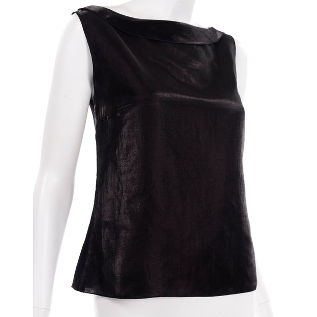 Chanel Metallic Linen Boat Neck Sleeveless Black Top Modig