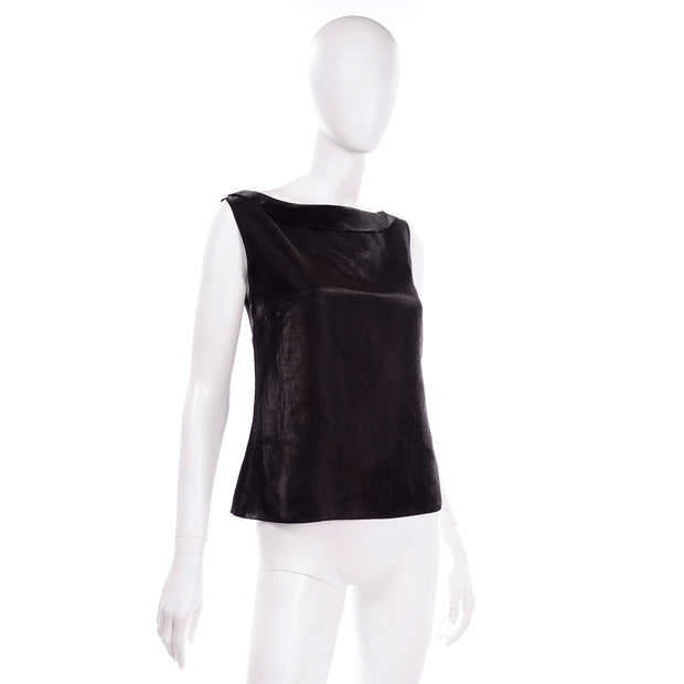 Karl Lagerfeld Chanel Metallic Linen Boat Neck Sleeveless Black Top