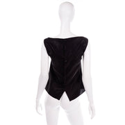 Chanel Metallic Linen Boat Neck Sleeveless Black Top M