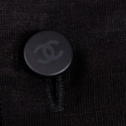 Chanel Metallic Linen Boat Neck Sleeveless Black Top CC Buttons M
