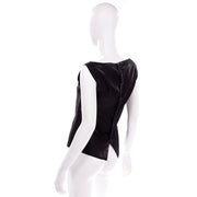 Chanel Metallic Linen Boat Neck Sleeveless Black Top Medium