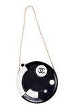 Black and white leather round Chanel bag