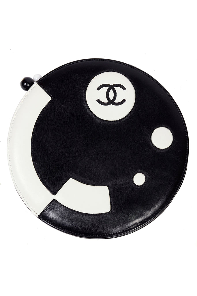 Chanel black and white leather disc handbag
