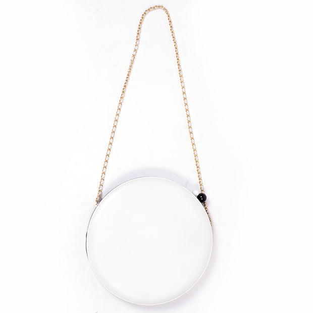 Black and white geometric circle shoulder bag with gold strap Chanel