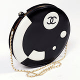 Chanel round black and white circle shoulder bag